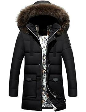 Larga capa de los hombres espesa la chaqueta abajo , black , l