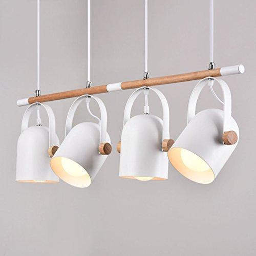 Metall-decken-beleuchtung (Modern Deckenlampe Holz Pendelleuchte hängende Beleuchtung Holz und Metall Streifen Decke Kronleuchter Büro, Esstisch, Arbeitszimmer Pendel Lampe Balkon Schlafzimmer ( Farbe : 4 Köpfe ))