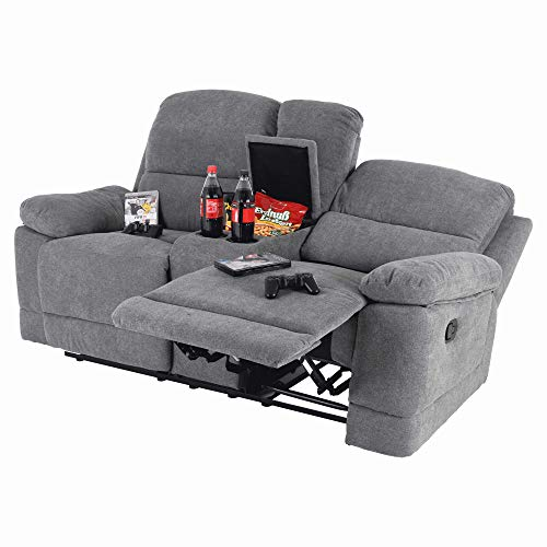 MACOShopde by MACO Möbel 2er Kinosessel Plex - Zweisitzer Doppelsitzer Cinema Relaxsessel TV-Sessel mit Getränkehalter Verstellbarer Fernsehsessel mit Liege-/ Relaxfunktion grau