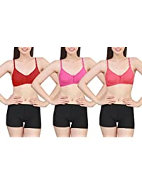 Hosiery Polyester Seamless Bra Pack of 3