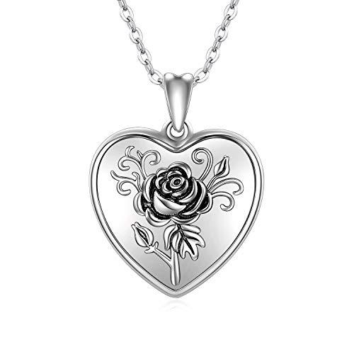 CHENGHONG Herz Medaillon zum Öffnen Silber 925 mit Personalisierte Foto Bilder Herz Kette Anhänger Halskette Rose Blume Amulett Geschenk für Damen Frauen Mädchen Mutter (Foto-anhänger-halskette)