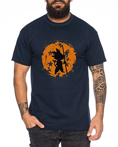 Dragon Vegeta Ball Son Goku Roshi DBZ Kult Fun Manga Anime Herren T-Shirt Dunkel Blau