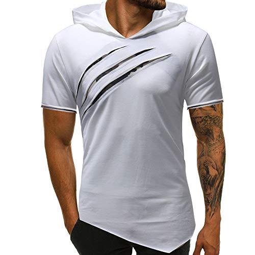 Riou Herren Langarm Hoodie Sweatshirt Slim fit Sweatjacke Kapuzenpullover Pullover T-Shirt Baumwoll Outwear Herren Pure Color Camouflage Nähte Hoodie Langarm Shirt Top (2XL, Weiß T)
