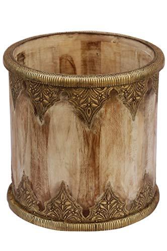 Orientalischer Mülleimer Papierkorb Übertopf aus Holz Camaka 30cm Groß | Marokkanischer Wäscheeimer Wäschebox für das Bad | Eimer klein als Papiereimer im Büro oder Abfalleimer in der Küche