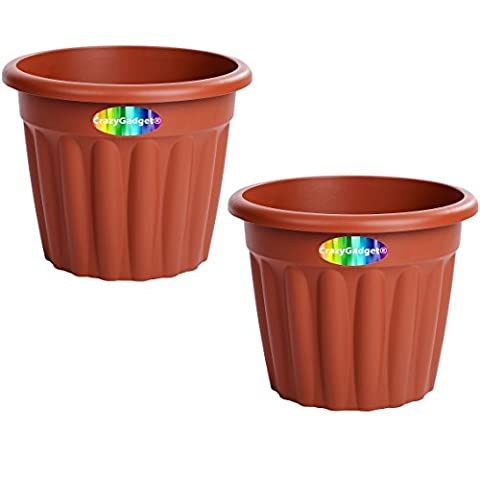 2 x CrazyGadget® Large Planter Round Plastic Garden Flower Plant Herb Pot Contemporary Design Style - Indoor and Outdoor (Terracotta (Brown), 50cm)