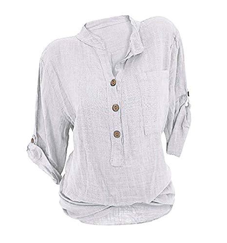 izeit V-Ausschnitt Leinen Bluse Locker Hemd Blusenshirt- Gr. M (EU 38), Weiß ()