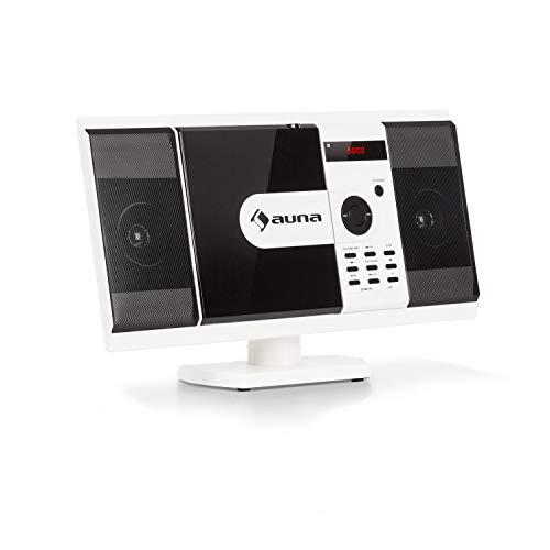 auna MCD-82 BT Vertikal-Stereoanlage - Micro-System im Slim Design, DVD-Laufwerk: DVD, DIVX, MPEG4, CD-R, CD-RW, MP3, Bluetooth, USB, SD, UKW, HDMI-Video-Ausgang, Fernbedienung, weiß