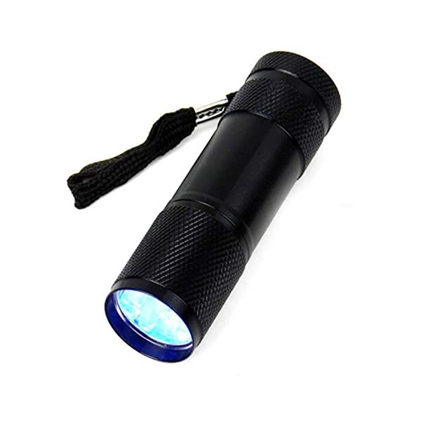 RoadRoma Mini Aluminio 9 LED antorcha UV Ultravioleta Linterna Impermeable (Negro) 1