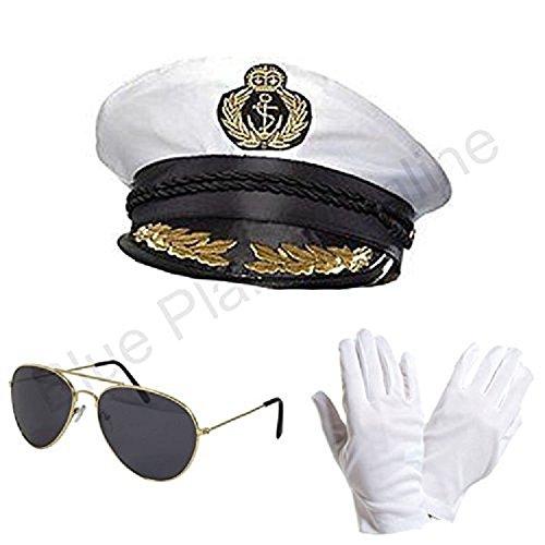 Blue Planet Online-Captain chapeau, lunettes de soleil Aviator & Gants Blanc Fancy Dress (Lady Aviator Kostüm)
