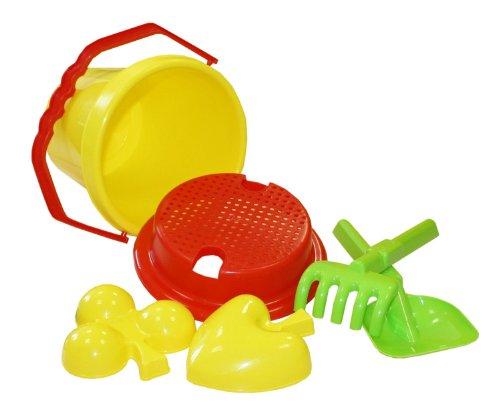 Idena 7113460 - Sandspielzeug Set bestehend aus Eimer, Sieb, 2 Förmchen, Harke und Kleiner Schaufel, zum Spielen am Strand und im Sandkasten, 6 teilig, sortiert
