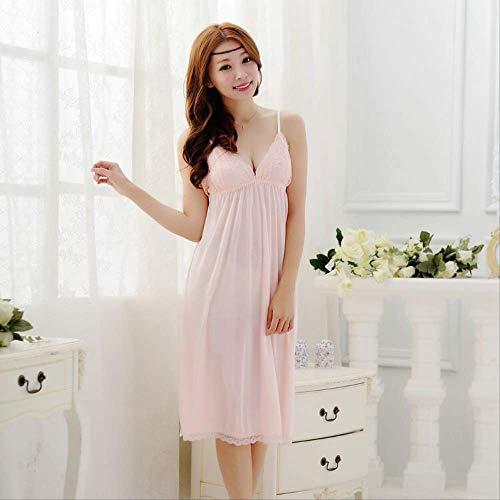 MDHDSY Fashion Suspender Night Dress Damen Deep V Damen Sleepshirts Roben One Size pink -