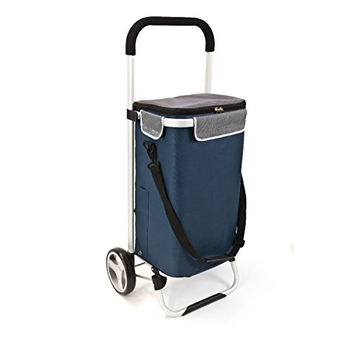 Mit Rädern Trolley Tasche (bremermann Einkaufstrolley BRINKUM, Handwagen, Einkaufswagen mit Abnehmbarer Tasche (blau))
