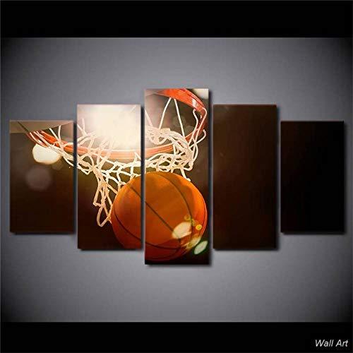 Tableau imprimé XXL, Tableau 5 Parties Toile Murale Decor, Tableau Decor, Canvas 150x80 cm,Panier de Basket