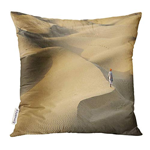 Throw Pillow Cover Orange Scenery Indian Bedouin is Going All Over The Peak of Sand Dune on Thar Desert Rajasthan India Decorative Pillow Case Home Decor Square 18x18 Inches Pillowcase - Dune Gift Set