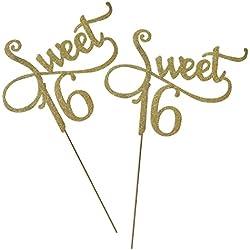 OUNONA 2Tortenaufsatz Gold Monogramm Sweet 16. Geburtstag Jahrestag Tortenaufsatz, für Sweet Party Themen Dekoration (Gold)