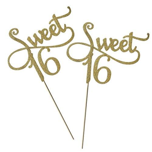 (OUNONA 2Tortenaufsatz Gold Monogramm Sweet 16. Geburtstag Jahrestag Tortenaufsatz, für Sweet Party Themen Dekoration (Gold))