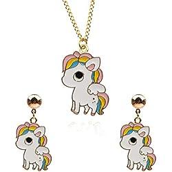 EVBEA Unicornio Collar Pendientes joyería Conjunto Unicornio Colgante Cadena joyería Unicornio Regalo para niñas