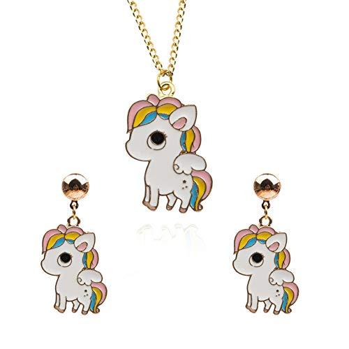 EVBEA Unicornio Collar Pendientes joyería Conjunto