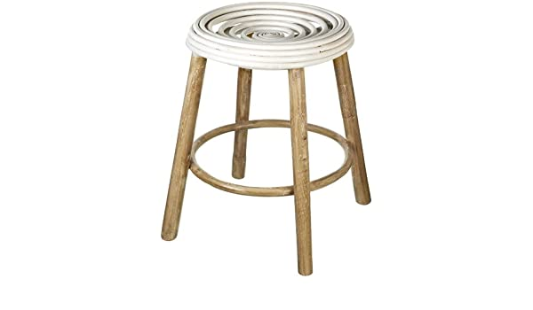 Sgabello di legno con bobina in rattan 45 x 33 cm: amazon.it: casa