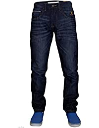 Mens New Designer Kangol Tapered Leg Button Fly Soft Denim Jeans with Free Belt
