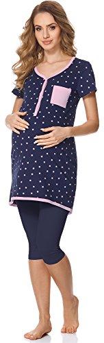 Bellivalini Damen Umstands Pyjama mit Stillfunktion BLV50-126 (Navy Punkte/Navy, L) -