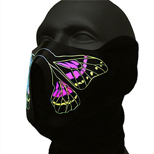Ucult Schmetterling Rave LED-Maske Tiermaske Party Cosplay Leuchtende DJ Maske Festivalmaske Patymaske