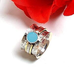 Meditationsringe, Spinnerringe, Silberringe für Frauen, Beautiful Designer Spinning Ring for Women, Chalcedony Band Rings, 925 Sterling Silver Band Rings for Women