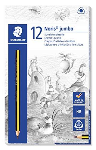 Staedtler matite noris jumbo, confezione da 12 matite triangolari grandi, gradazione hb, alta qualità e resistenza, ideali per principianti, 119