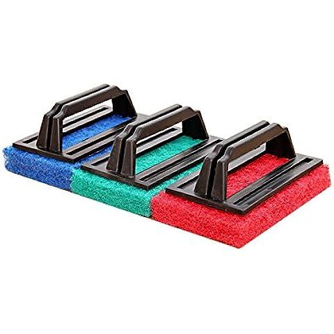 Creative potente decontaminazione Maniglia con spugna di pulizia spazzola per la pulizia del bagno Nanoceramica Piastrelle piatti fondi integrato da cucina rosso, blu, verde (colore casuale spedito) 15x 9x 7cm 3pcs