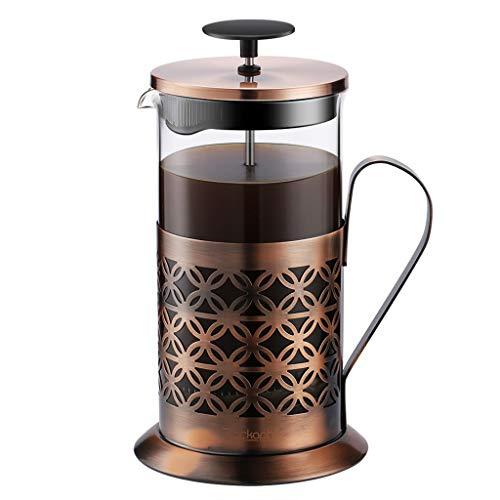 Rackaphile 1 Liter Kaffeebereiter mit Edelstahlfilter, French Press System, Kaffeekanne aus Glas mit Edelstahl-Rahmen, Permanent Edelstahl-Filter, für KaffeeTee Espresso