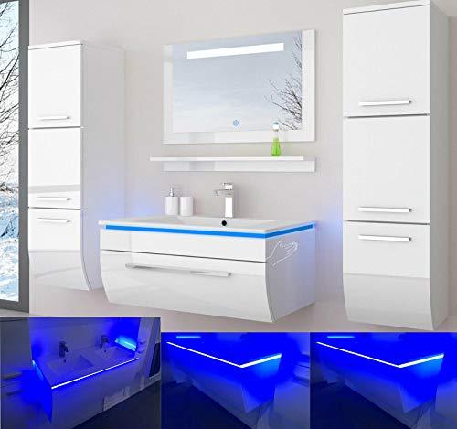 danny Badmöbelset 60 cm Weiss Vormontiert Badezimmermöbel Waschbeckenschrank mit Waschtisch Spiegel 2 Hochschränke mit LED Hochglanz lackiert Homeline1
