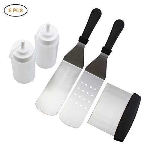 Hihey BBQ Grillplatte Zubehör mit Edelstahl Spachtel Schaber Kit Teppanyaki Werkzeug Set für Flat Top Kochen Outdoor Grillen Camping