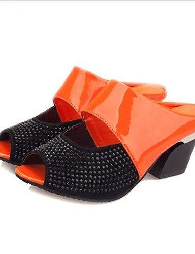 WSS 2016 Chaussures Femme-Soirée & Evénement-Noir / Bleu / Beige / Orange-Gros Talon-Bout Ouvert-Talons-Polyester orange-us8 / eu39 / uk6 / cn39