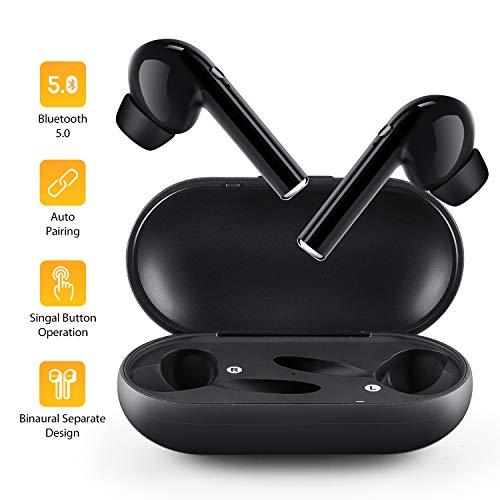 Auricolari Wireless, Auto Pairing Mini Auricolare Bluetooth 5.0, Cuffie Stereo con Microfono, Cuffie Senza Fili con Custodia di Ricarica, Auricolari Sportivi compatibili con Tutti Gli Smartpho