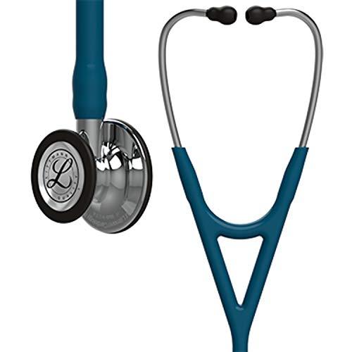 3M Littmann 6169 Cardiology IV Stethoskop, Bruststück und Schlauchanschluss hochglanzpoliert, karibikblauer Schlauch, 69cm, Edelstahl-Ohrbügel -
