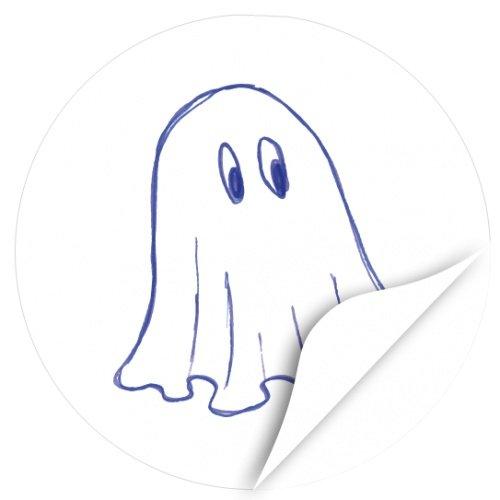 Halloween Dekoration/Aufkleber/Sticker/48 Stück/Niedliches Gespenst gezeichnet zum Kleben/Dekorieren/Selbstklebend/Rund, 4cm