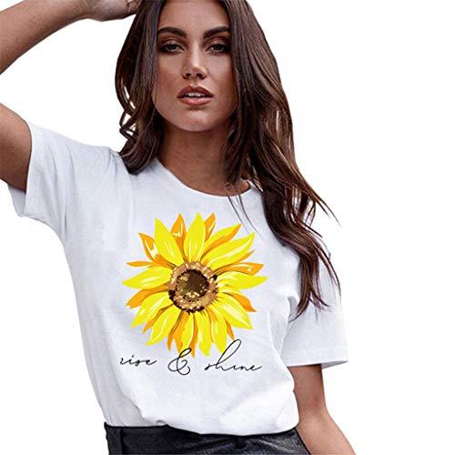 MIRRAY Damenmode Aufstieg und Glanz Sonnenblume Graphic Tee Sommer Kurzarm T-Shirt