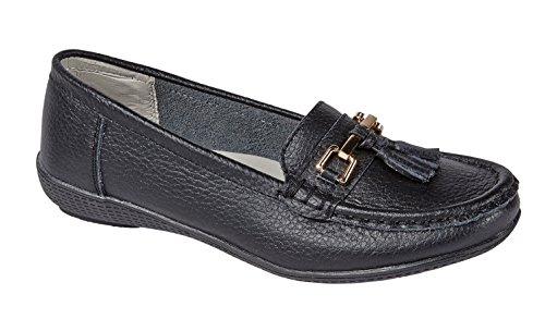 Damen Wohnungen Leder Deck Boot Loafer Mokassins Driving Schuhe mit Bar & Quasten Größe UK 3-8, Schwarz - schwarz - Größe: 40/7 UK (Damen Leder Schuhe Schwarz Wohnungen)