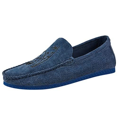 Uomo Pelle Mocassini Scarpe da Guida Slip On Morbida Piatto Scarpe da Barca Pantofola di Moda Nero, Blu, Cachi, Brown Taglia 39-48EU