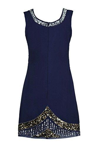Femmes Années 1920 Style Vintage Costume Charleston Gatsby Abbaye Frange En Perles Et Sequin Robe Droite Bleu