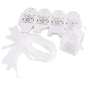25pcs Boîte à dragées bonbons Coeur pour Mariage Baptême blanc