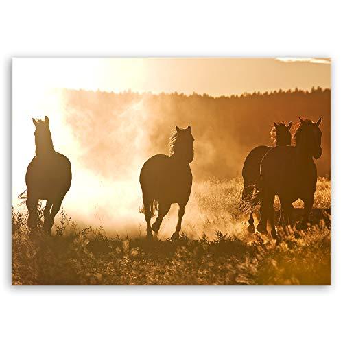 hochwertiges Leinwandbild Naturbilder Landschaftsbilder - Horses at Dawn - Natur Tierbilder auf leinwand - 40 x 30 cm einteilig 2213 M