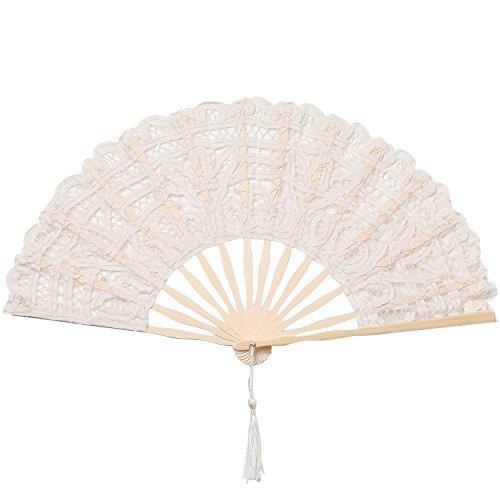ArtiDeco Lace Handfächer Retro Stil Spitzen Fächer mit Bambusrahmen für Party Dekoration Damen 1920s Kostüm Zubehör ()
