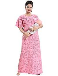 cea6d04a06 TUCUTE Women s Cotton Crush Printed Feeding Maternity Nursing Nighty Style