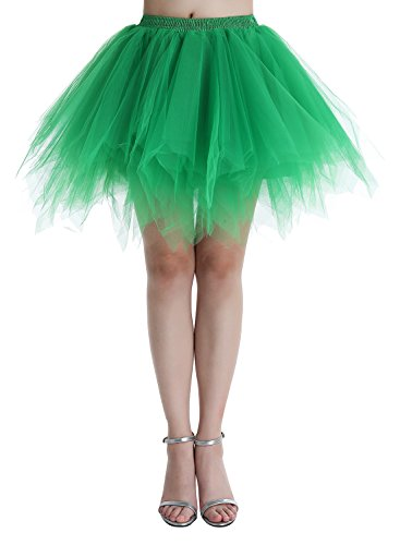 Dressystar DSP0005 Minirock Kurz Unterrock Tutu Unregelmäßig Tüll Damen Mädchen Ballettrock Multi-Schichten Grün (Grün Tutu)