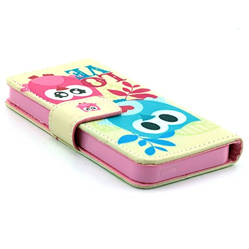 Più colorate Ancerson in pelle PU Flip Custodia per cellulare per Apple iPhone 5/5S/5G in pittura ad olio Stil Colorful Painting Custodia Flip Case Custodia in similpelle custodia per cellulare con fu Eule Geschwester