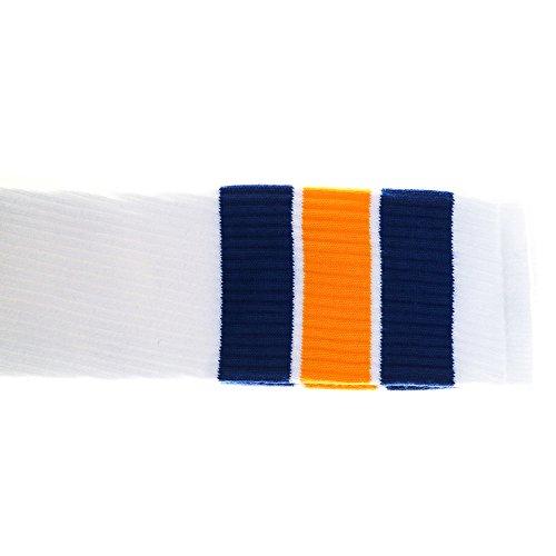 Choobes (Unisex) 35 Zoll Oberschenkel High White Tube Socken mit Royal Blue/Gold Stripes