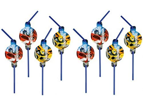 PICCOLI MONELLI Straws Transformers Anniversaire Enfants 8 pcs avec des stikers en Papier