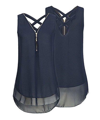 ASKSA Damen Chiffon Bluse Ärmellos Reißverschluss V Ausschnitt Rückenfrei Tank Tops T-Shirt (Navy Blau, XXL)