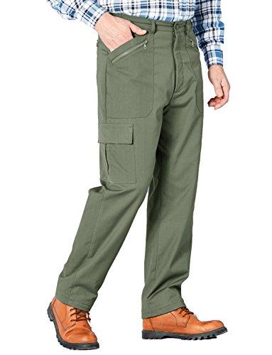 Herren Fully Thermal Stretch Taille Aktion Hosen Gefüttert Olive Taille 106cm x Beinlänge 79cm (Polyester-aktion Hosen)